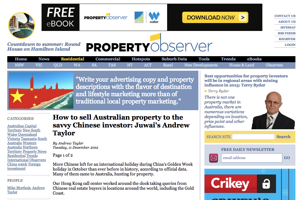 "Property Observer, ""How to sell Australian property to the savvy Chinese investor"""