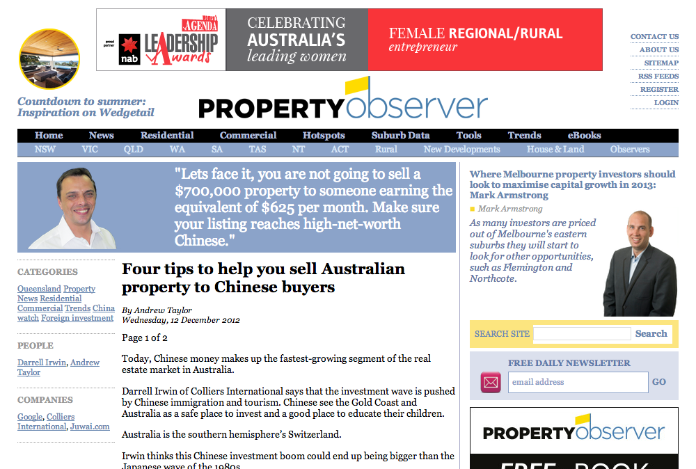 "Property Observer, ""Four tips to help you sell Australian property to Chinese buyers"""