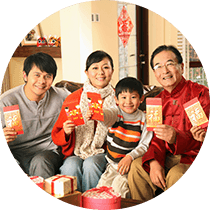 Chinese family with red envelopes