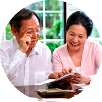 Chinese couple looking at properties