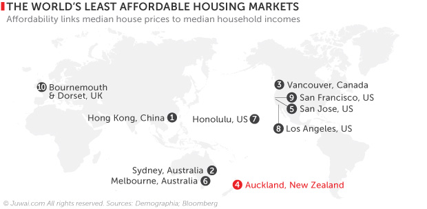 world's least affordable housing markets map