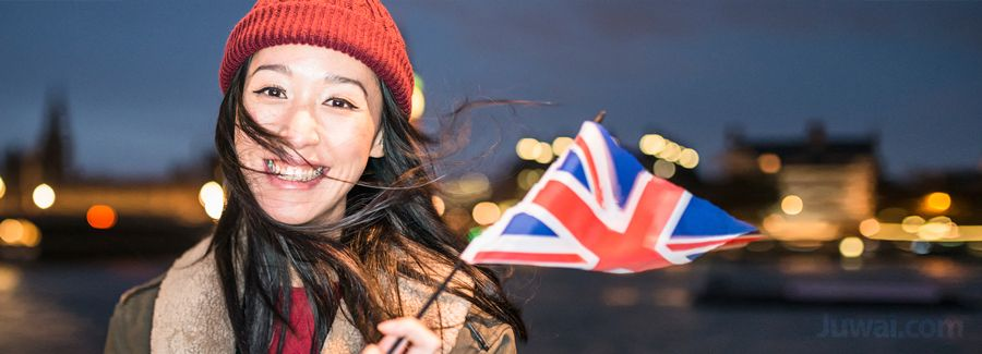 uk flag chinese girl